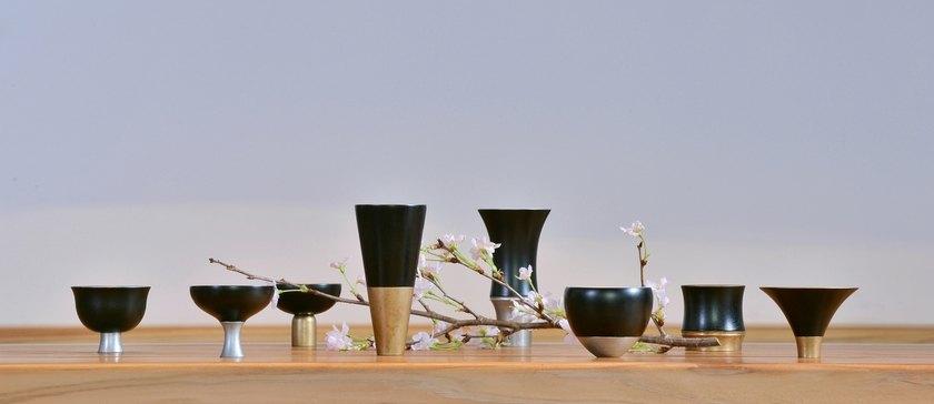 Les objets en étain et laque de la maison Kisen à l'espace Densan à Paris