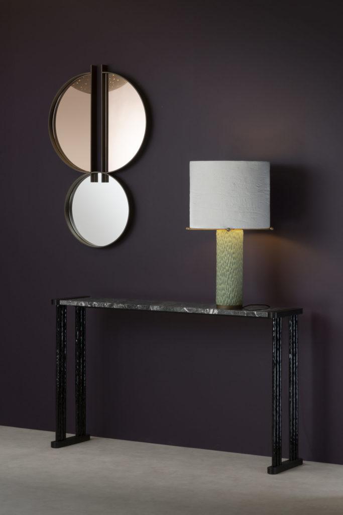 Lampe Sorbet, miroir Split et console Muse